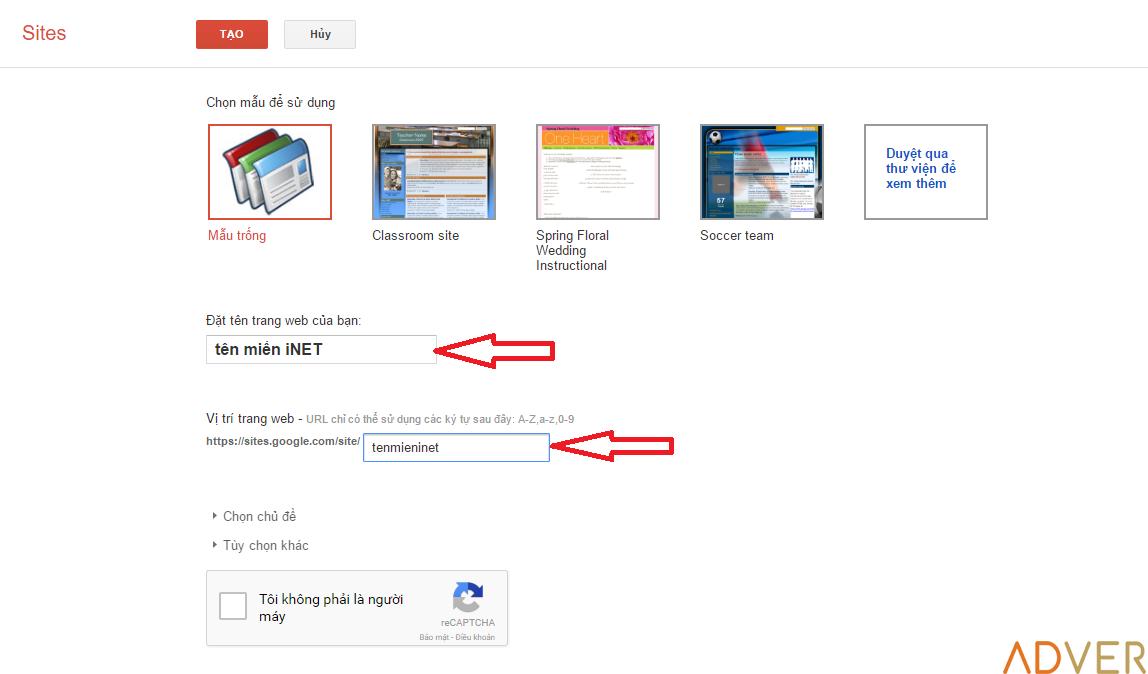Bí quyết tạo trang web miễn phí chuyên nghiệp với Google site